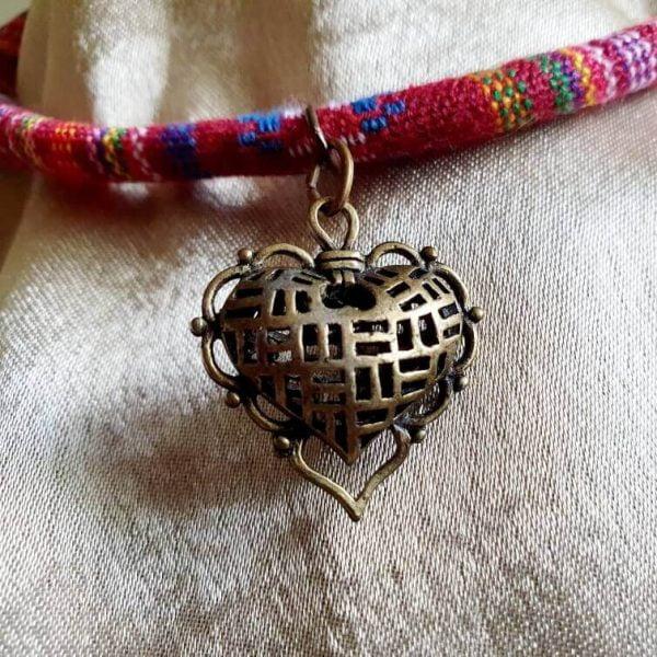 Choker Handmade Bronz Heart